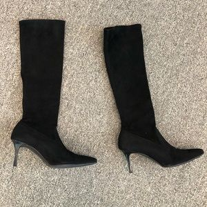 Manolo black suede boots